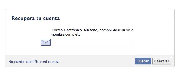 Facebook: recordar contraseña